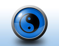 Icona di Ying yang Bottone lucido circolare Immagine Stock