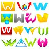 Icona differente con l'alfabeto W Fotografia Stock Libera da Diritti