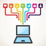 Icona differente di tecnologia e del social Immagini Stock