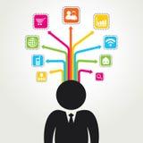 Icona differente di tecnologia e del social Immagini Stock Libere da Diritti