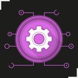 Icona digitale di colore dell'ingranaggio Fotografia Stock