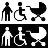 Icona disabile nello stile piano d'avanguardia isolata su fondo illustrazione vettoriale