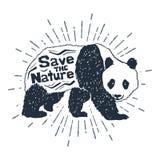 Icona disegnata a mano con l'illustrazione strutturata di vettore del panda Fotografie Stock