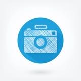 Icona disegnata piana della macchina da presa Immagini Stock