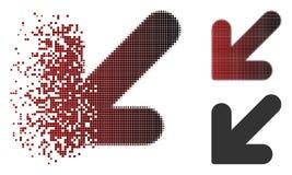 Icona dissolta di Dot Halftone Arrow Down Left illustrazione vettoriale
