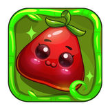 Icona divertente di app con frutta rossa sveglia Immagine Stock