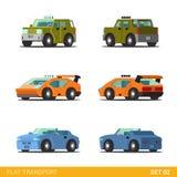 Icona divertente isometrica piana di trasporto della città 3d messa: automobili Fotografia Stock