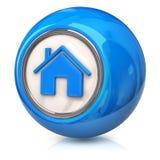 Icona domestica blu Fotografie Stock