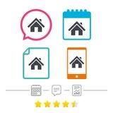 Icona domestica del segno Bottone della pagina principale nearsighted Immagini Stock