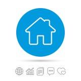 Icona domestica del segno Bottone della pagina principale nearsighted Immagine Stock Libera da Diritti