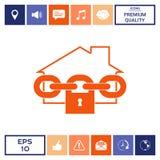 Icona domestica della serratura Fotografia Stock