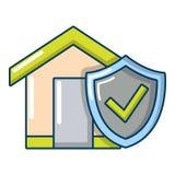 Icona domestica di assicurazione, stile del fumetto Fotografie Stock Libere da Diritti