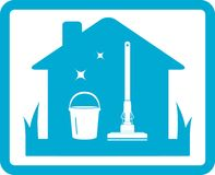 Icona domestica di pulizia Immagini Stock Libere da Diritti