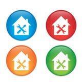 Icona domestica di riparazione Insieme di vetro dell'icona del bottone Fotografia Stock