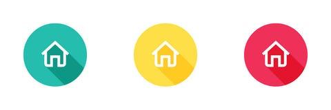Icona domestica nel fondo giallo e rosso verde con effetto ombra lungo, simbolo della casa Progettazione semplice e piana, stile  illustrazione vettoriale