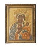 Icona dorata antica della madre di Dio Simbolo di religione fotografie stock
