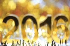 Icona dorata 2016 3d Immagini Stock