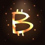 Icona dorata del bitcoin Simbolo digitale del sistema di pagamento di cryptocurrency di Bitcoin Fotografie Stock Libere da Diritti