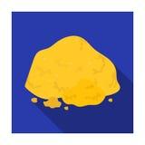 Icona dorata del minerale metallifero nello stile piano isolata su fondo bianco r Fotografia Stock Libera da Diritti