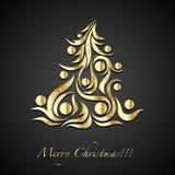 Icona dorata dell'albero di Natale Fotografia Stock