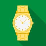 Icona dorata dell'orologio nello stile piano isolata su fondo bianco Illustrazione di vettore delle azione di simbolo degli acces Immagini Stock Libere da Diritti