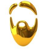 Icona dorata della barba Fotografia Stock