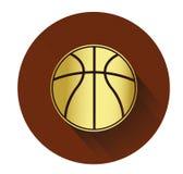 Icona dorata della palla del canestro con effetto ombra lungo Fotografie Stock Libere da Diritti