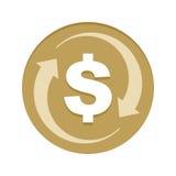 Icona dorata della parte posteriore dei contanti dei soldi Fotografia Stock