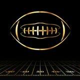 Icona dorata di football americano Fotografie Stock