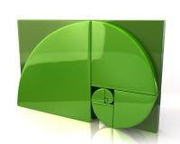 Icona dorata verde di rapporto Fotografia Stock Libera da Diritti