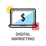 Icona e computer portatile di vendita di Digital sul illustrati bianco del fondo Fotografie Stock