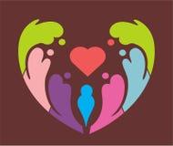 Icona e logo del cuore di pace Fotografia Stock Libera da Diritti