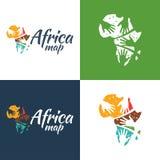Icona e logo della mappa dell'Africa illustrazione vettoriale