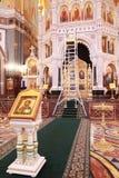 Icona e scale per ripristino all'interno della cattedrale Fotografie Stock Libere da Diritti