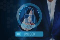 Icona e scorrevole della serratura indicante dell'uomo di affari per sbloccare barra illustrazione vettoriale