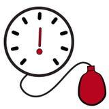 Icona e simbolo di un tonometer semplice di pressione sanguigna Immagini Stock