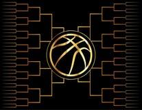 Icona e sostegno dorati di pallacanestro Immagine Stock