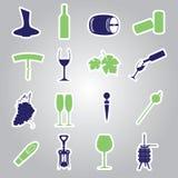 Icona eps10 stabilito degli autoadesivi del vino Illustrazione Vettoriale
