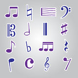 Icona eps10 stabilito degli autoadesivi della nota di musica Fotografie Stock
