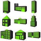 Icona esterna delle costruzioni impostata nel nero 3d Fotografia Stock Libera da Diritti
