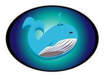 Icona felice della balena con fondo blu affinchè nuotino nel mare illustrazione vettoriale