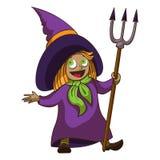 Icona felice della strega del bambino, stile del fumetto illustrazione di stock