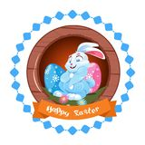 Icona felice di Pasqua isolata con Bunny And Colorful Eggs sveglio royalty illustrazione gratis