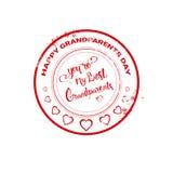 Icona felice di saluto del bollo di giorno dei nonni Immagini Stock Libere da Diritti