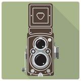 Icona gemellata della macchina fotografica reflex della lente dell'annata Fotografia Stock Libera da Diritti