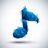 Icona geometrica blu della nota musicale fatta 3d nello stile moderno, migliore f Immagine Stock