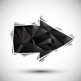 Icona geometrica della freccia nera fatta nello stile moderno 3d, il più bene per uso Fotografia Stock Libera da Diritti