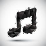 Icona geometrica nera della nota musicale fatta nello stile moderno 3d, la cosa migliore Immagini Stock Libere da Diritti