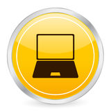 Icona gialla del cerchio del computer portatile Fotografia Stock Libera da Diritti