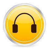 Icona gialla del cerchio della cuffia Fotografia Stock Libera da Diritti